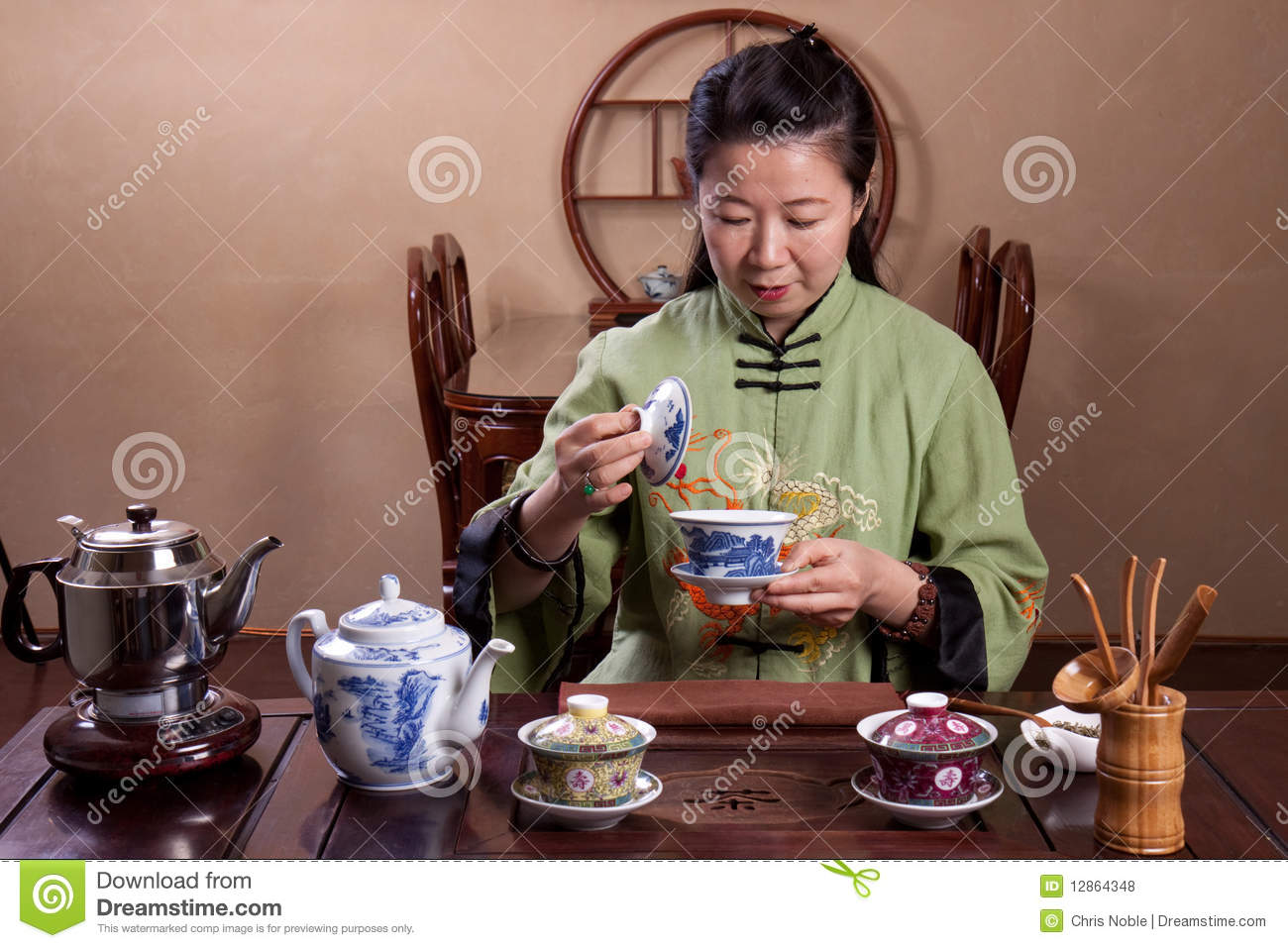 For asian lady image on china teacup have removed