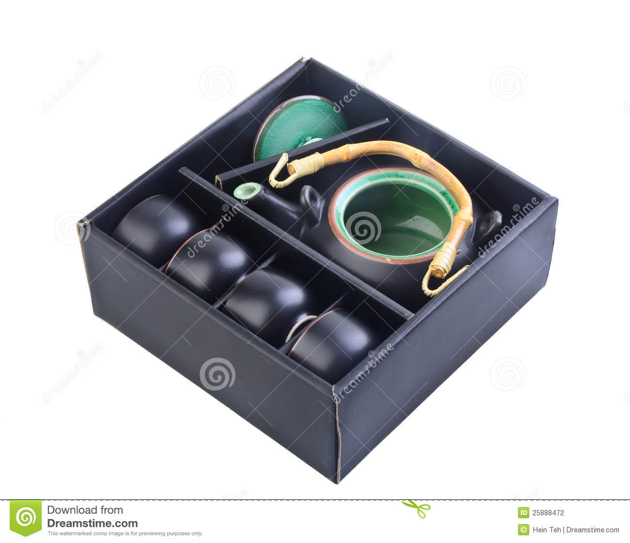 Chinese Tea Set Black Colour In Box Stock Photo Image