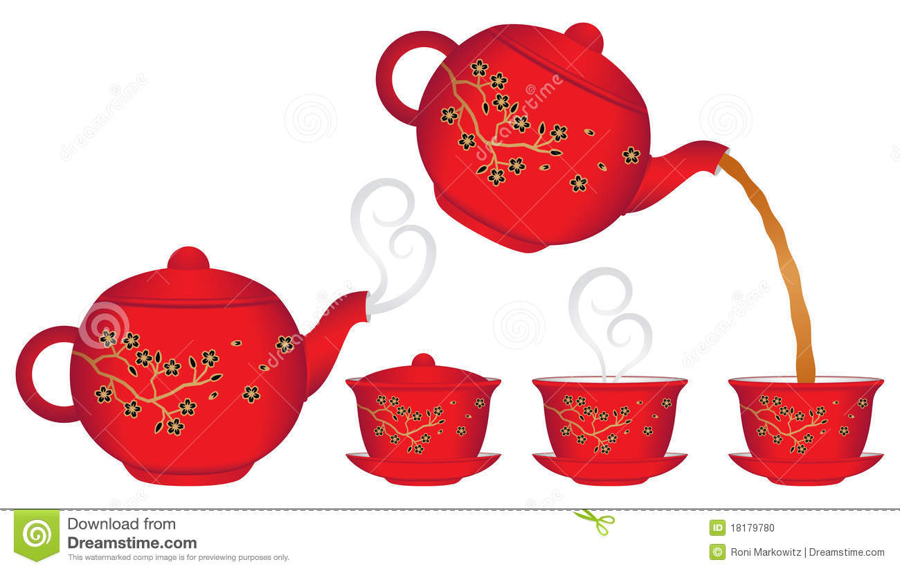 Chinese teapot pouring tea into a cup. There is also a teapot with ...