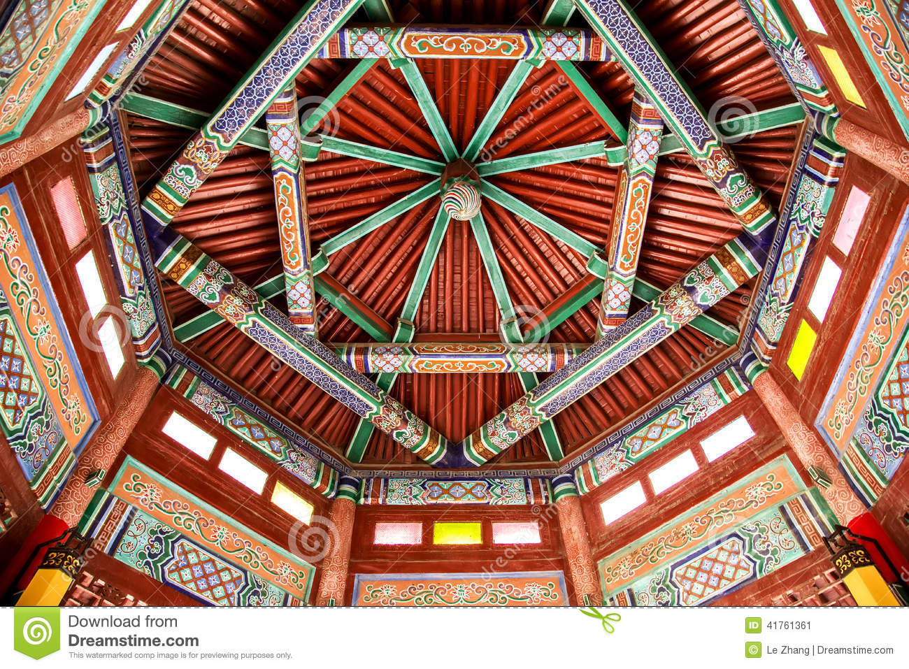 Chinese Temple Ceiling Stock Photo Image 41761361