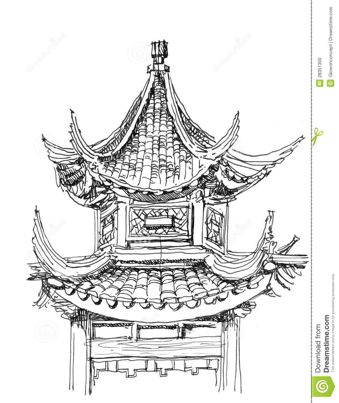 Chinese temple drawing