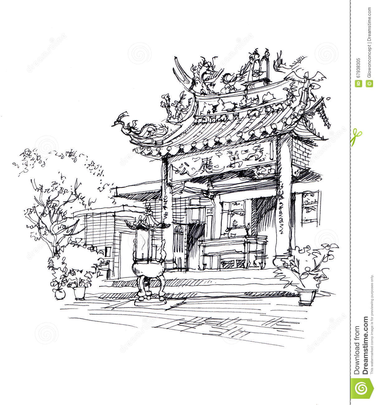 Chinese temple pen drawing sketch illustration