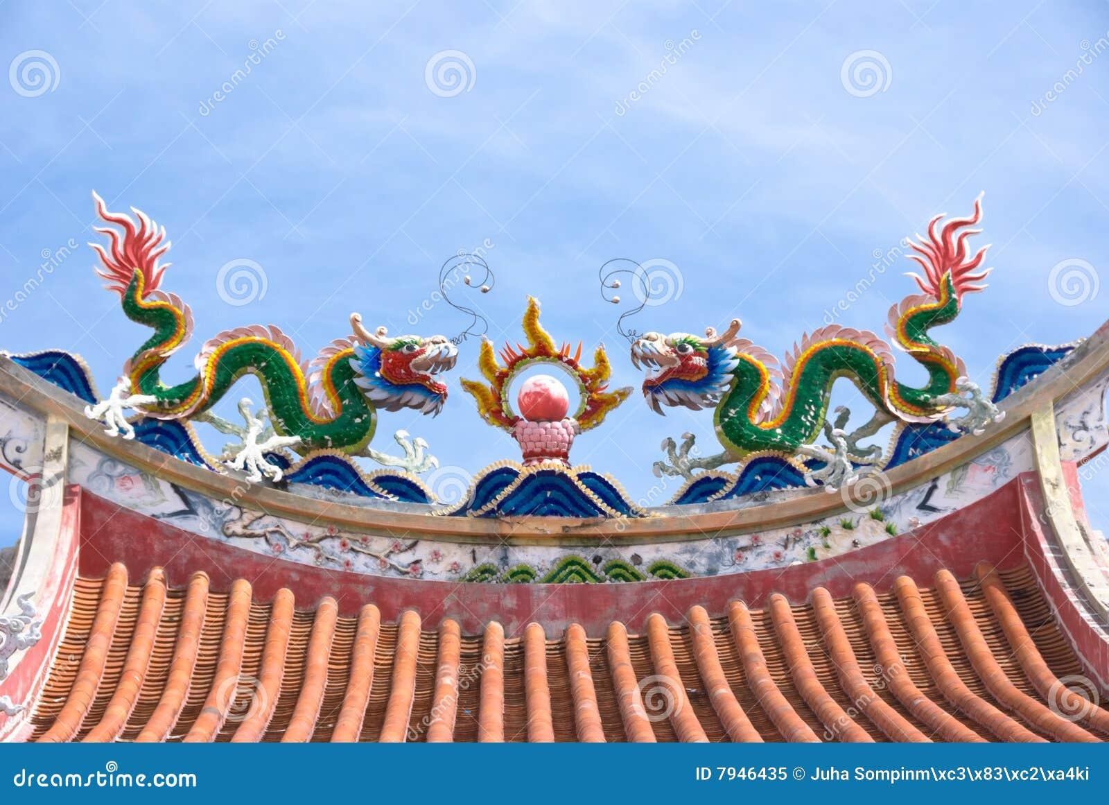 chinese temple roof decorations stock image image of mythology