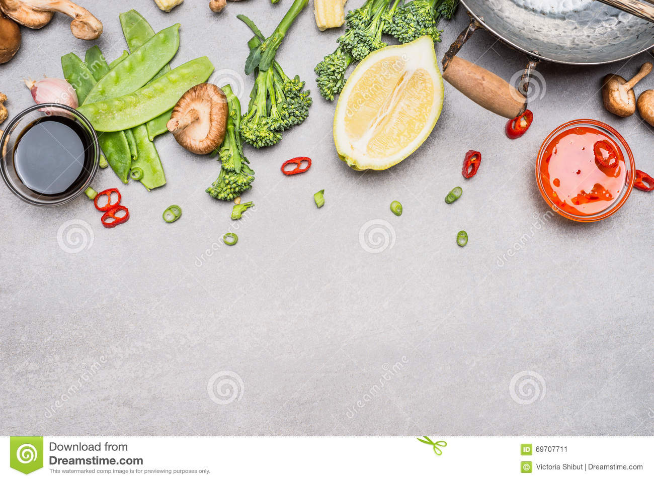 Chinese or thai cuisine vegetables and spices cooking for Asian cuisine ingredients