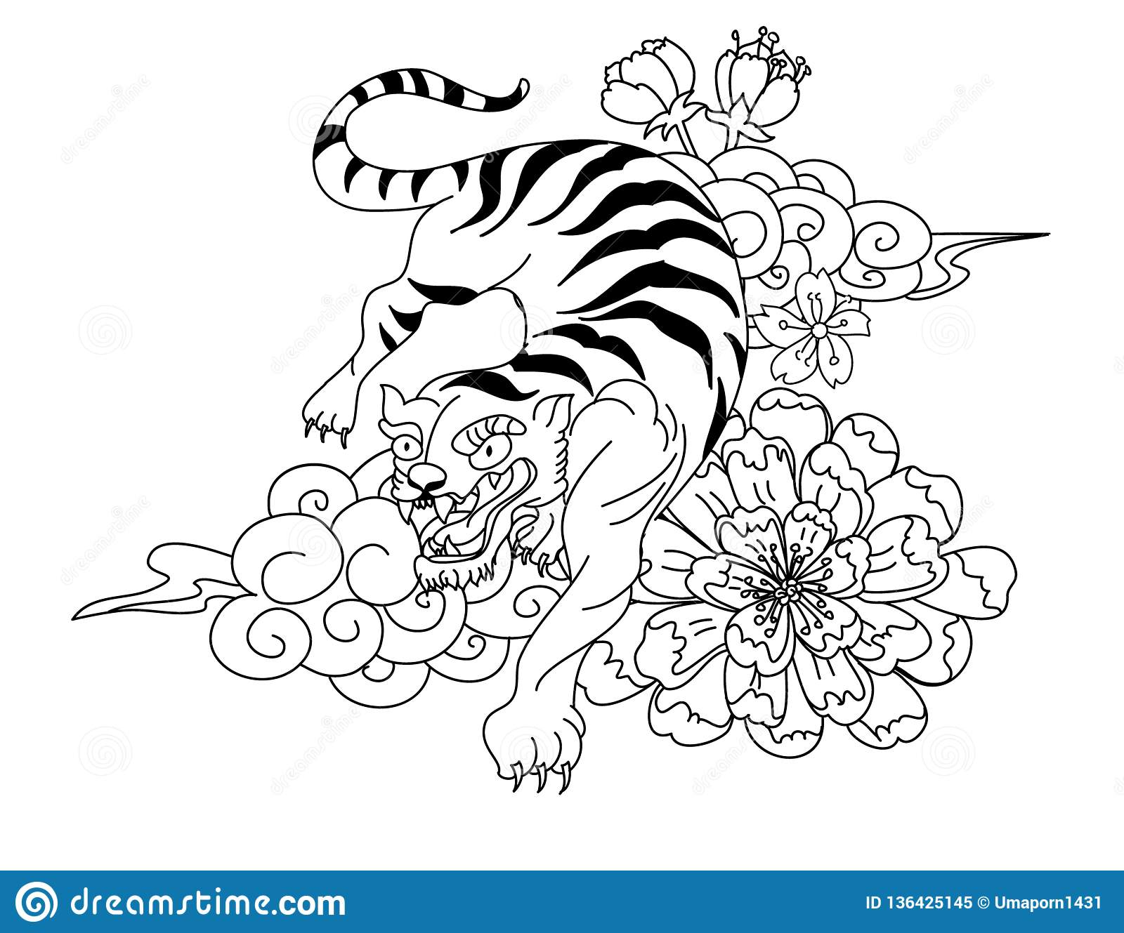 7df7d759f Chinese tiger with sakura flower and water splash tattoo.Illustration  design tiger and cherry peach