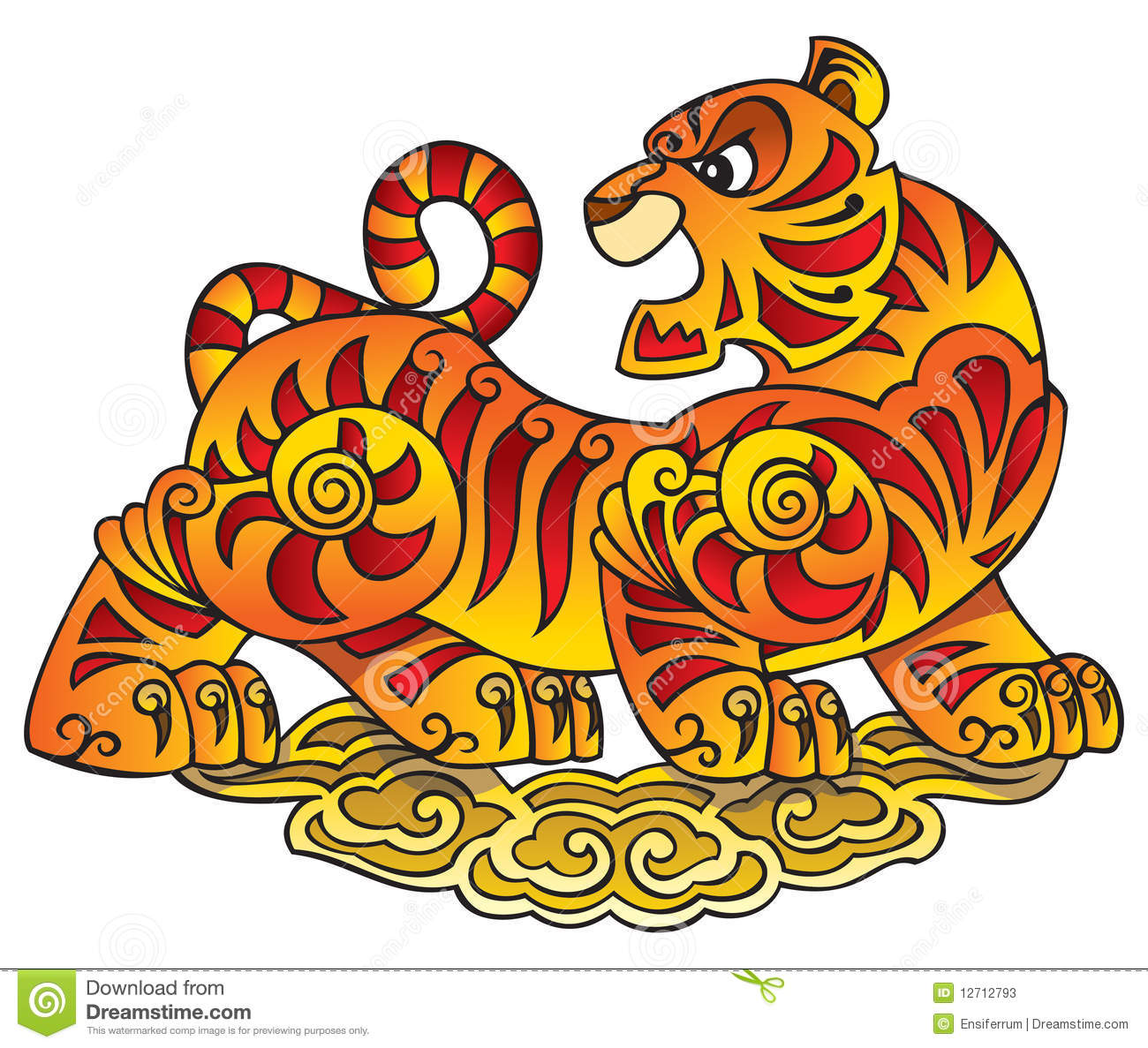 Chinese Tiger Symbol Of The Year Stock Vector Illustration Of