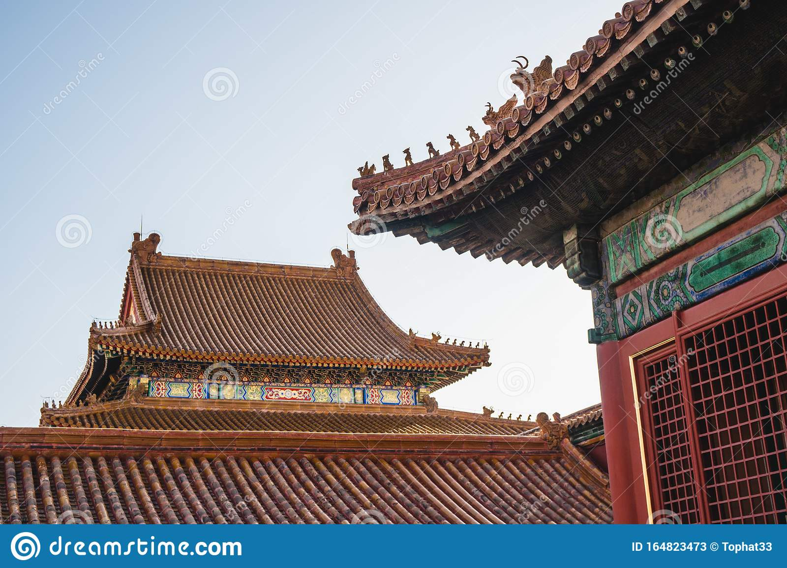 Chinese Traditional Architecture Chinese Roof Top Design In Beijing Stock Image Image Of Ceiling Buddhist 164823473