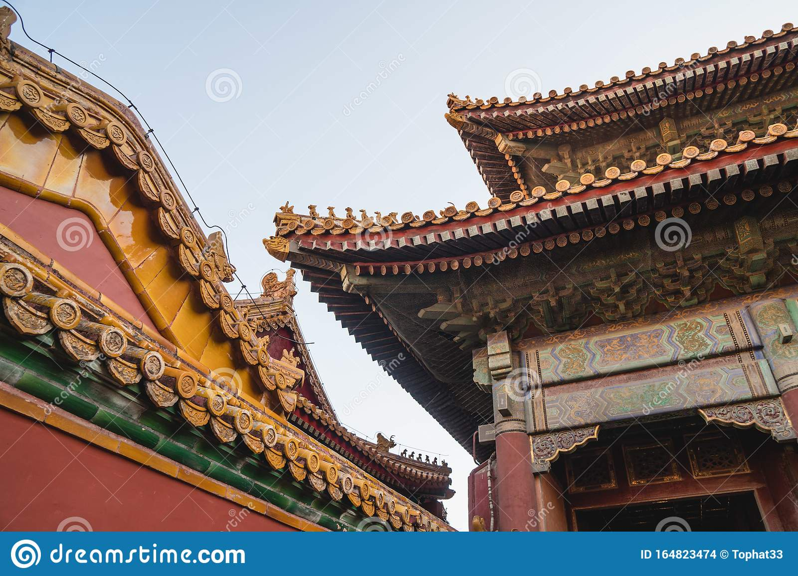 Chinese Traditional Architecture Chinese Roof Top Design In Beijing Stock Photo Image Of Beijing Forbidden 164823474