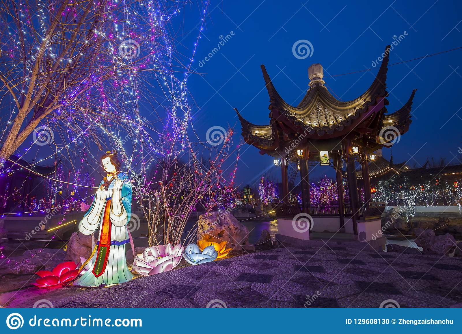 Chinese traditional buildings at night