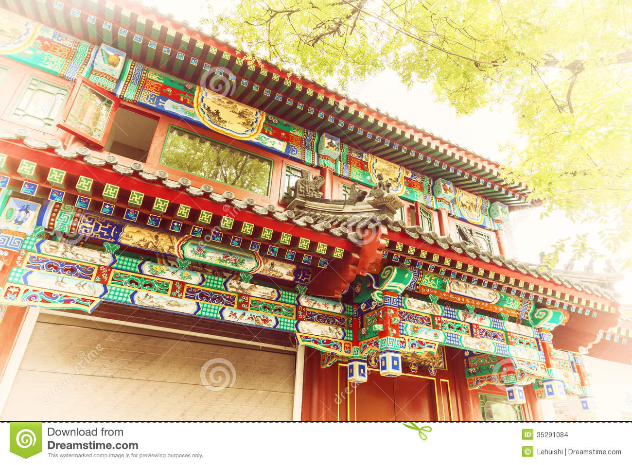 Chinese Traditional Construction Roof With Green Tree
