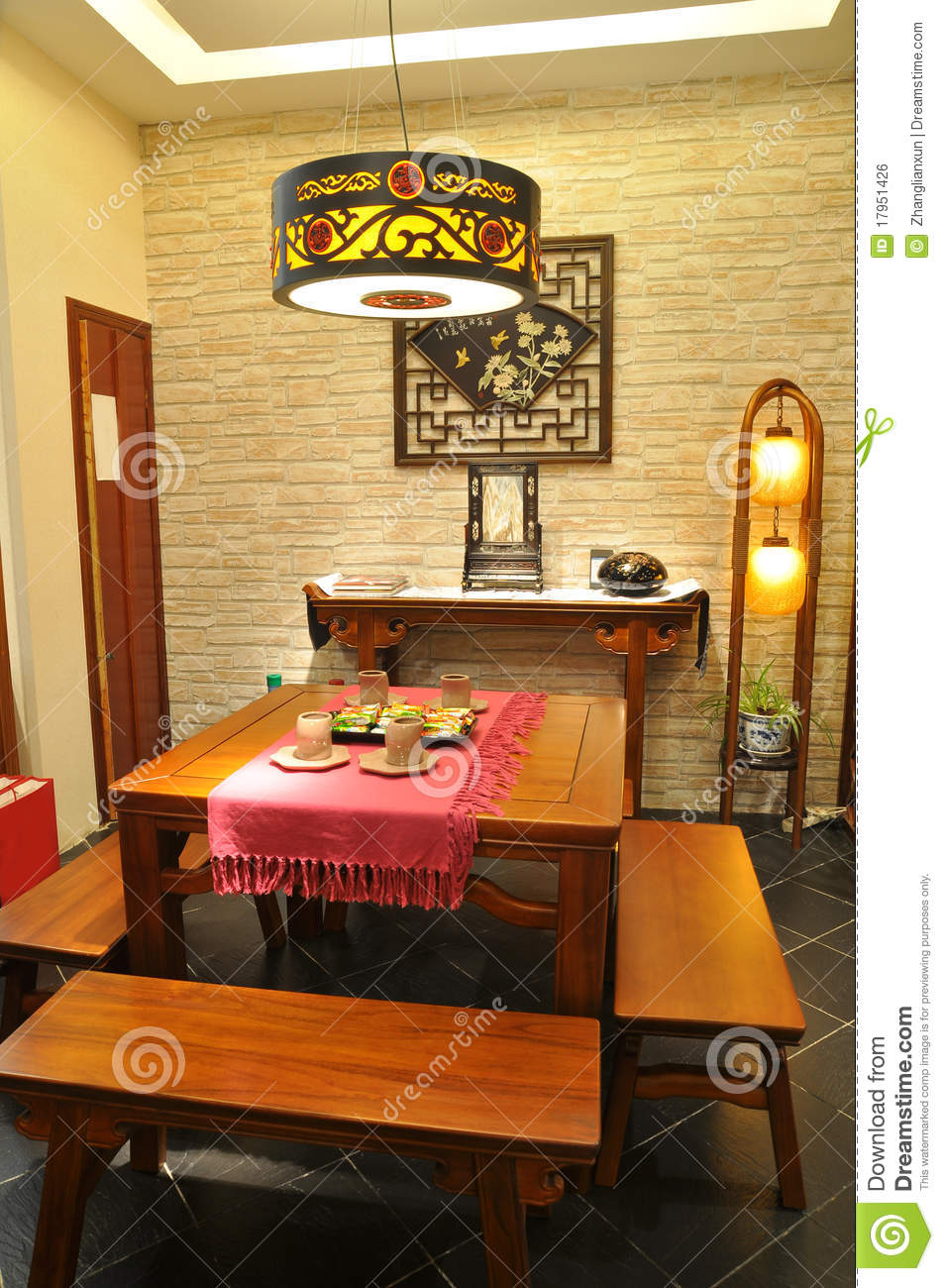 Traditional Asian Living Room: Chinese Traditional Furniture Royalty Free Stock Image