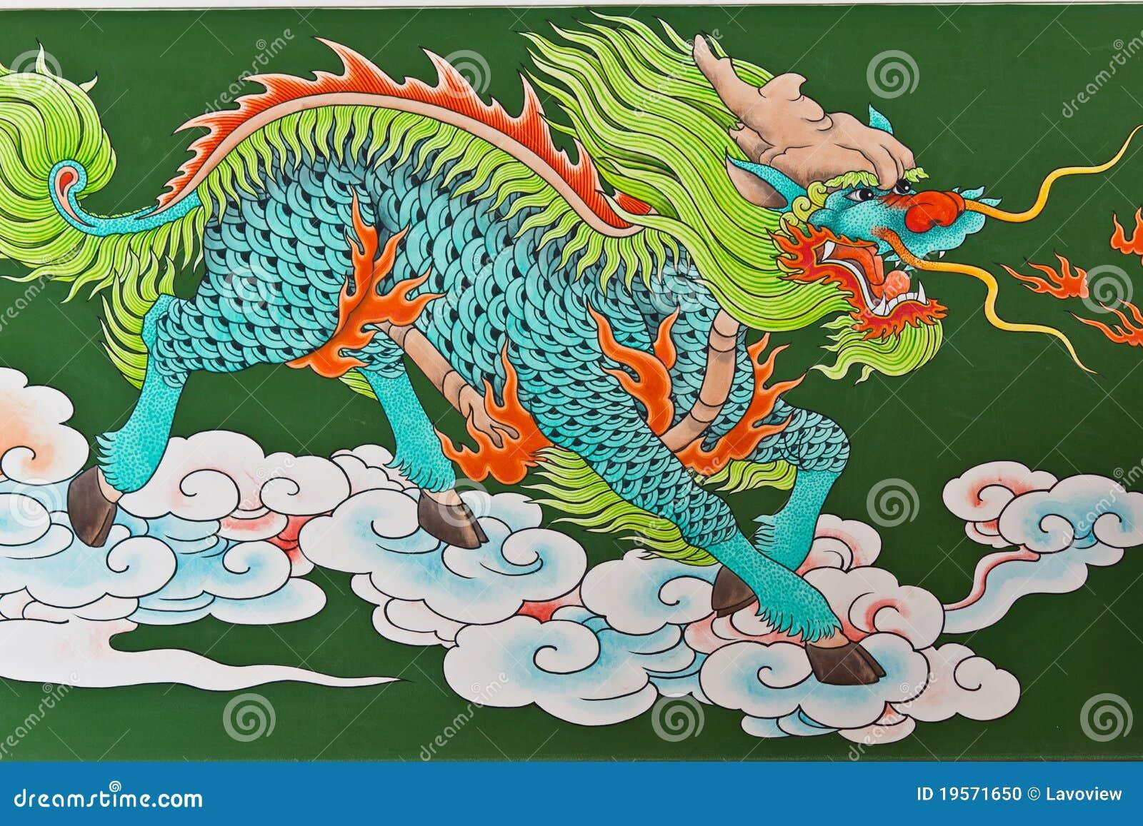 Chinese Traditional Kirin Pattern Stock Illustration