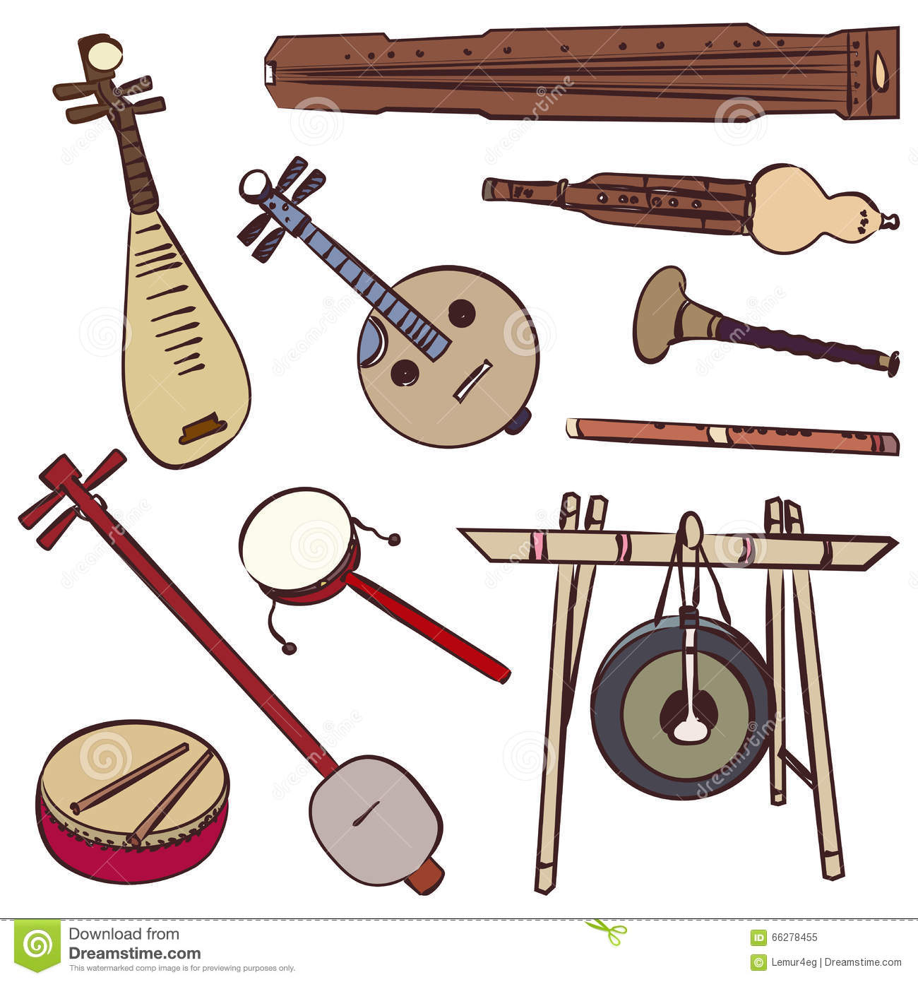 Chinese traditional musical instruments. Vector contour set for music ...