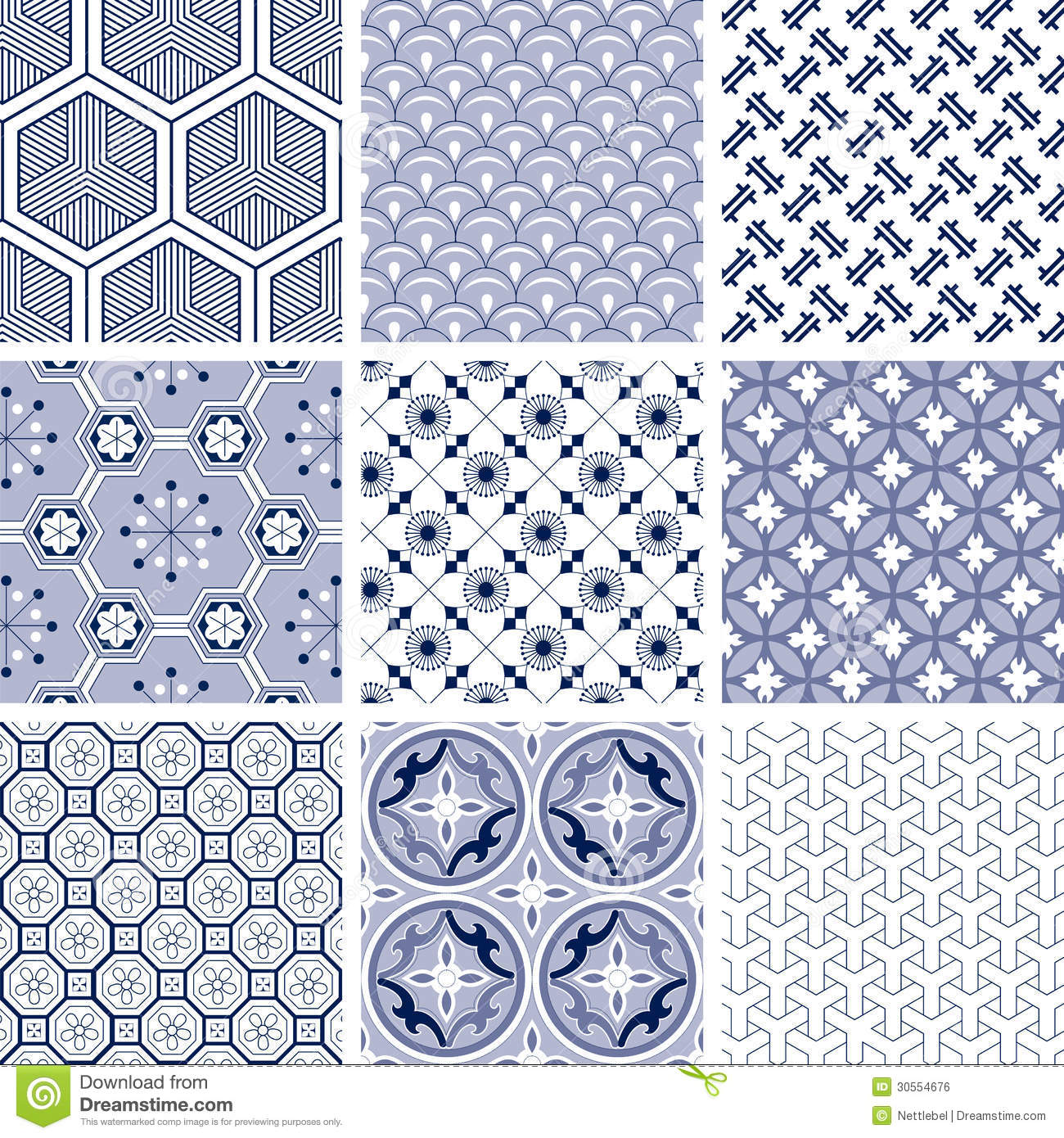 set of nine traditional chinese patterns in blue colors.
