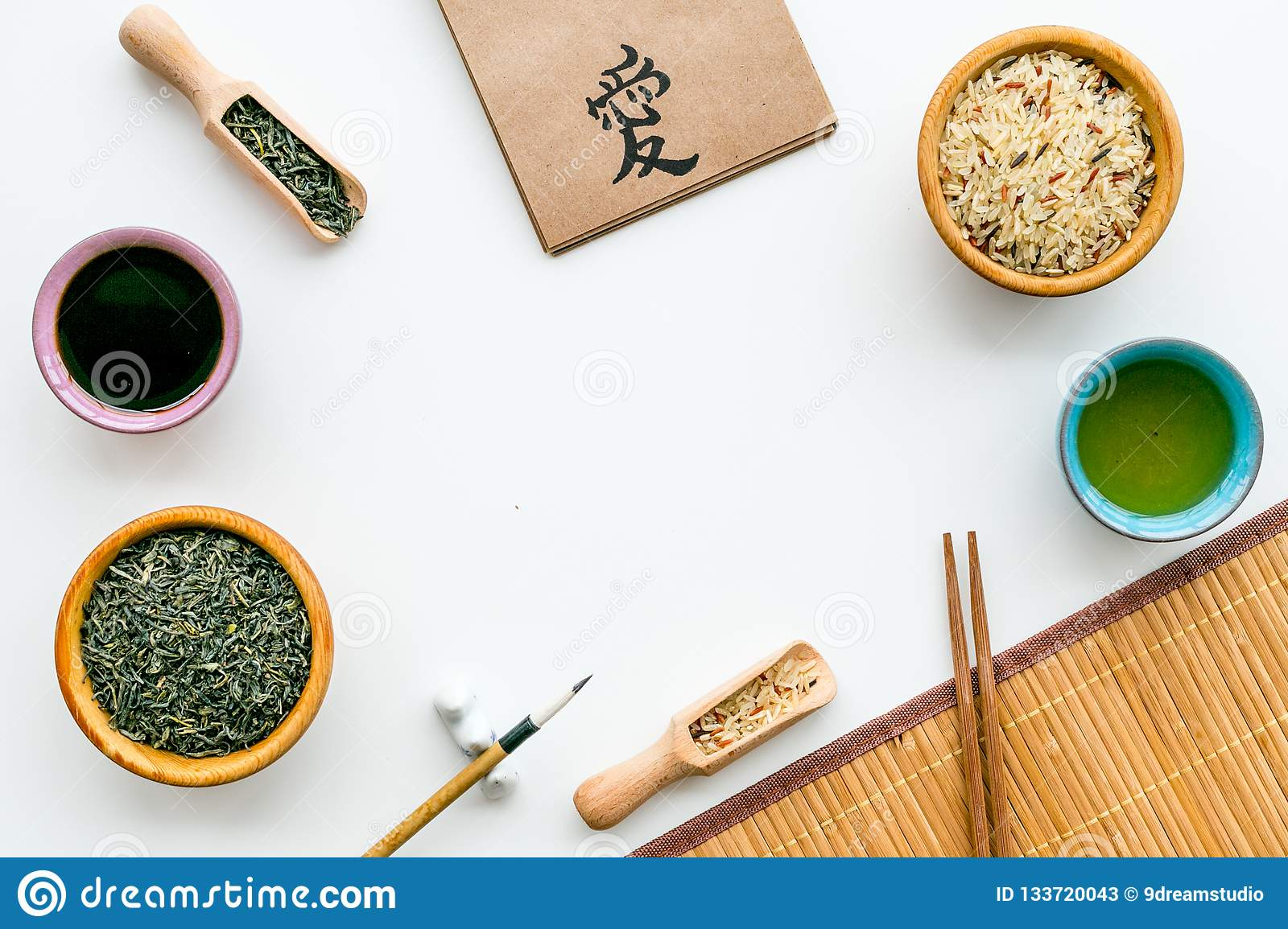 Chinese traditional symbols concept with hieroglyph which means Love. in english. Tea, rice, hieroglyph love, bamboo