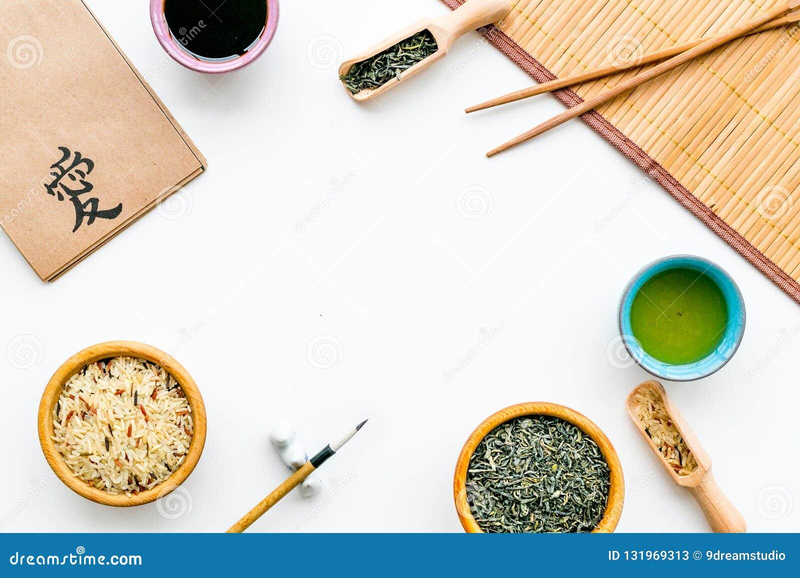 Chinese traditional symbols concept. Tea, rice, hieroglyph symbol, bambootabe mat, chopsticks, soy sause on white