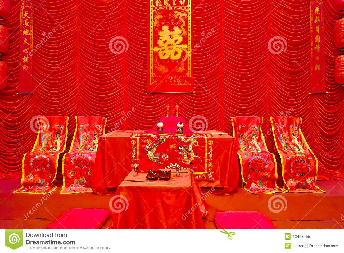 Chinese traditional wedding setting royalty free stock for Asian wedding bed decoration