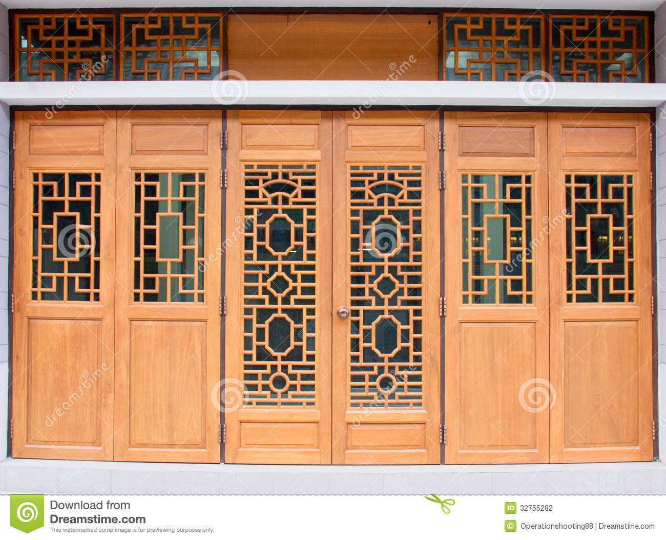 Chinese traditional wood door stock illustration image for Wood in chinese