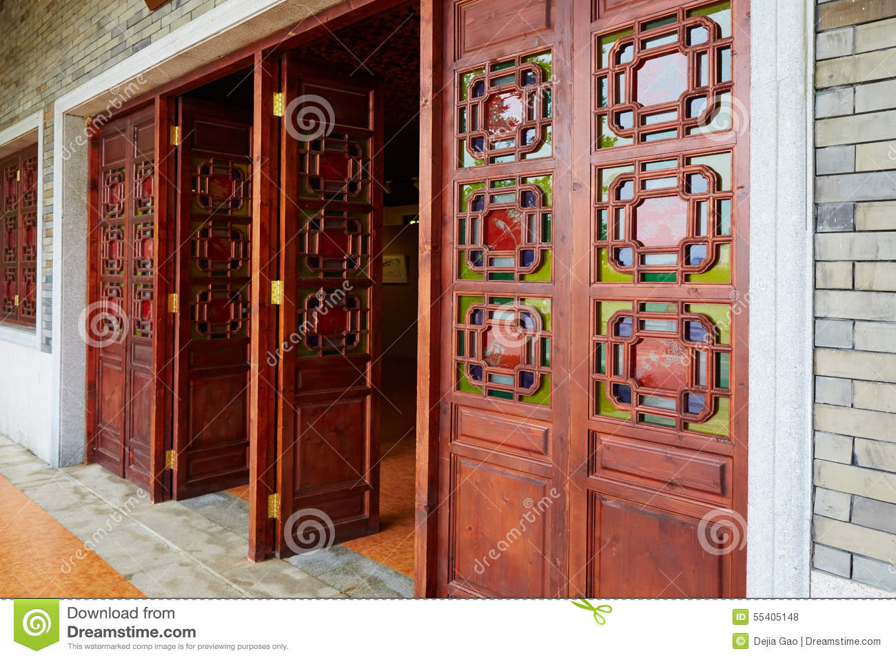 Asian chinese wooden door wood gate of classic house