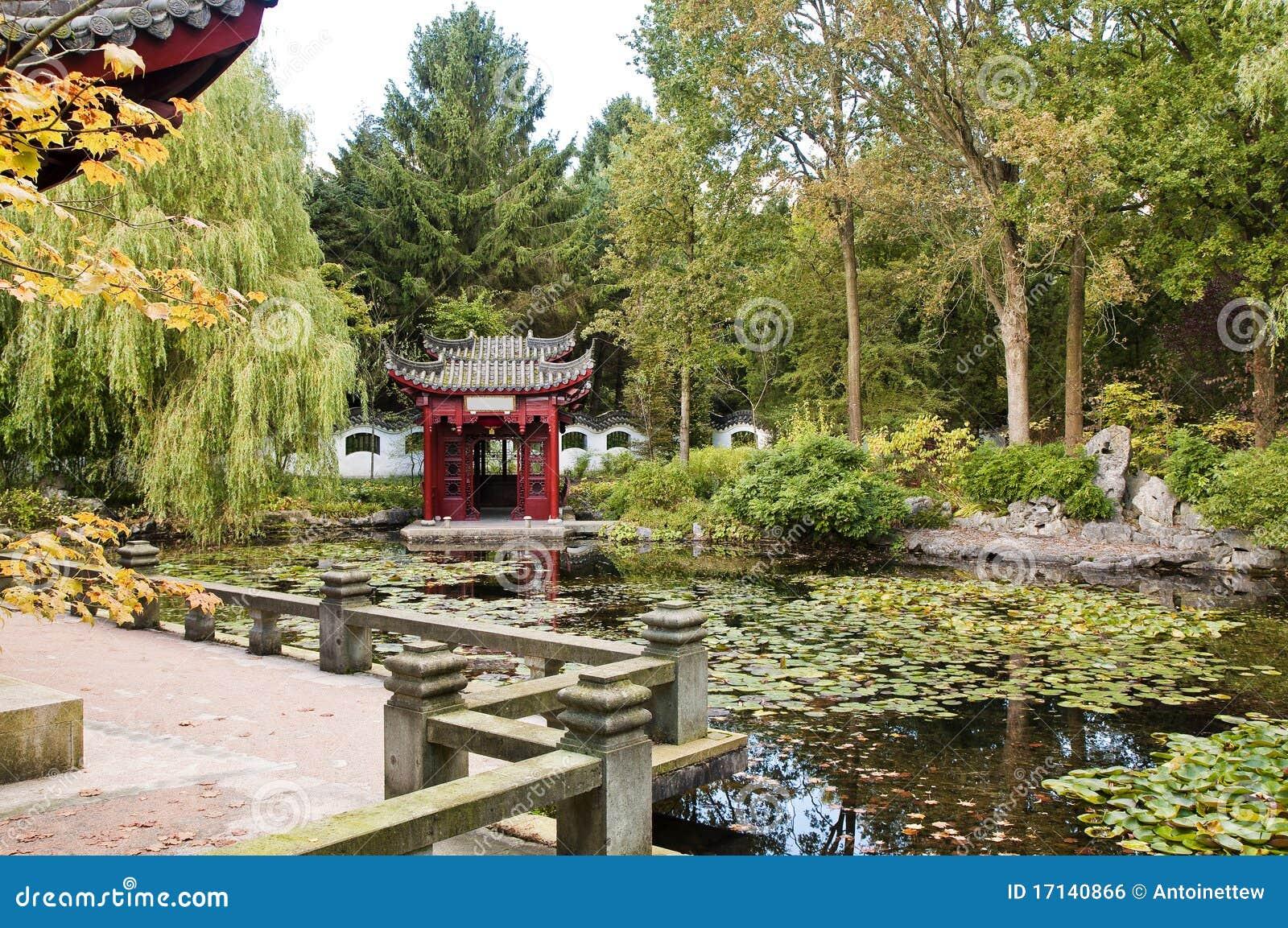Chinese tuin met weinig tempel en vijver royalty vrije for Vijver voor kleine tuin