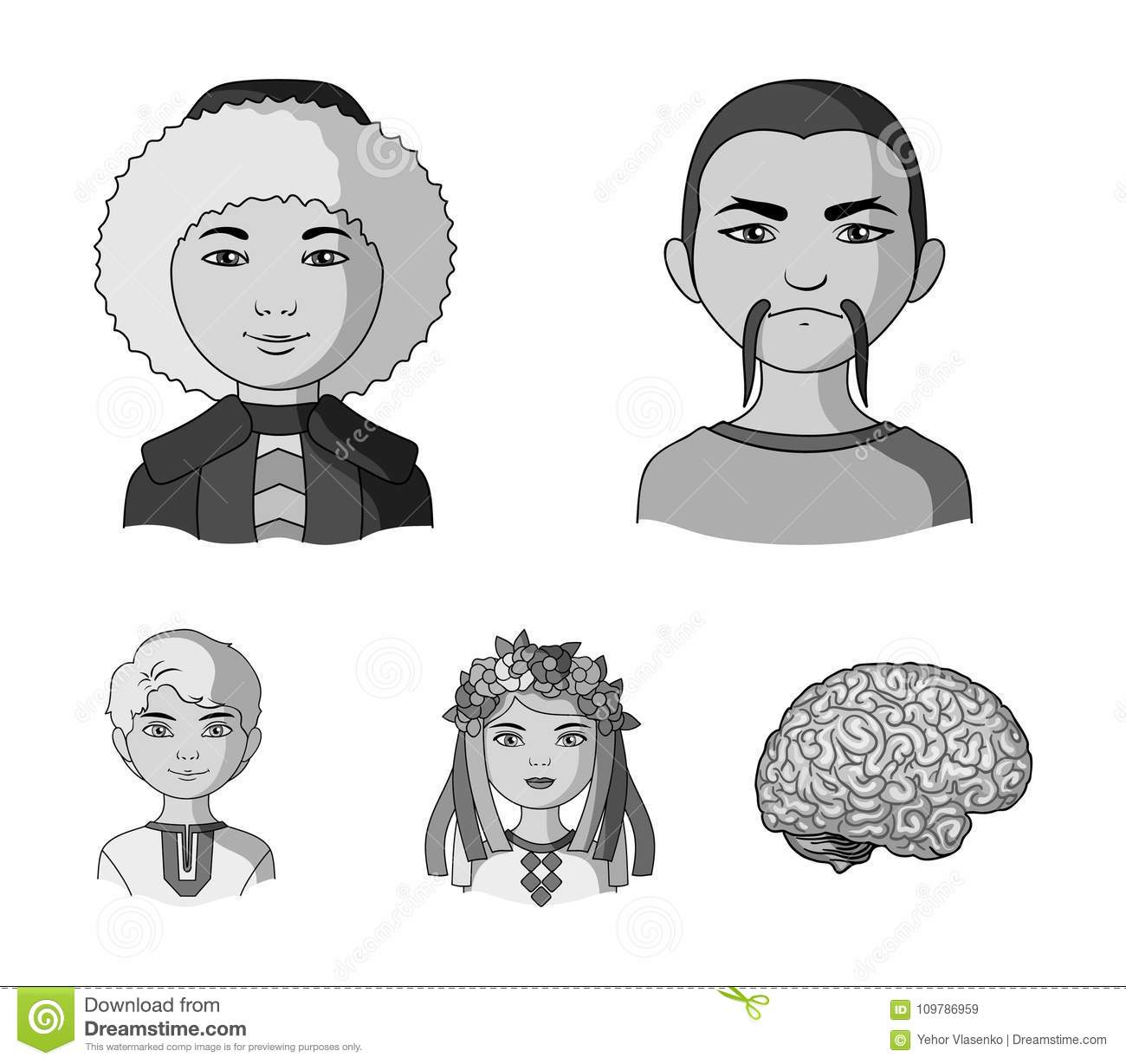 Chinese, ukrainian, russian, eskimo. Human race set collection icons in monochrome style vector symbol stock