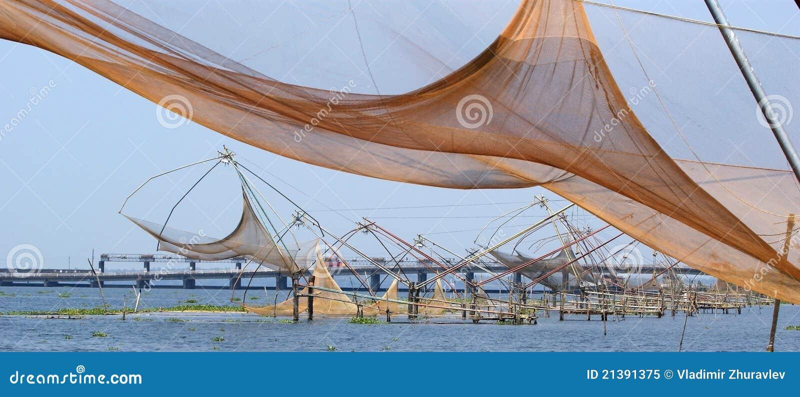 Chinese visserijnetten. Het Meer van Vembanad, Kerala