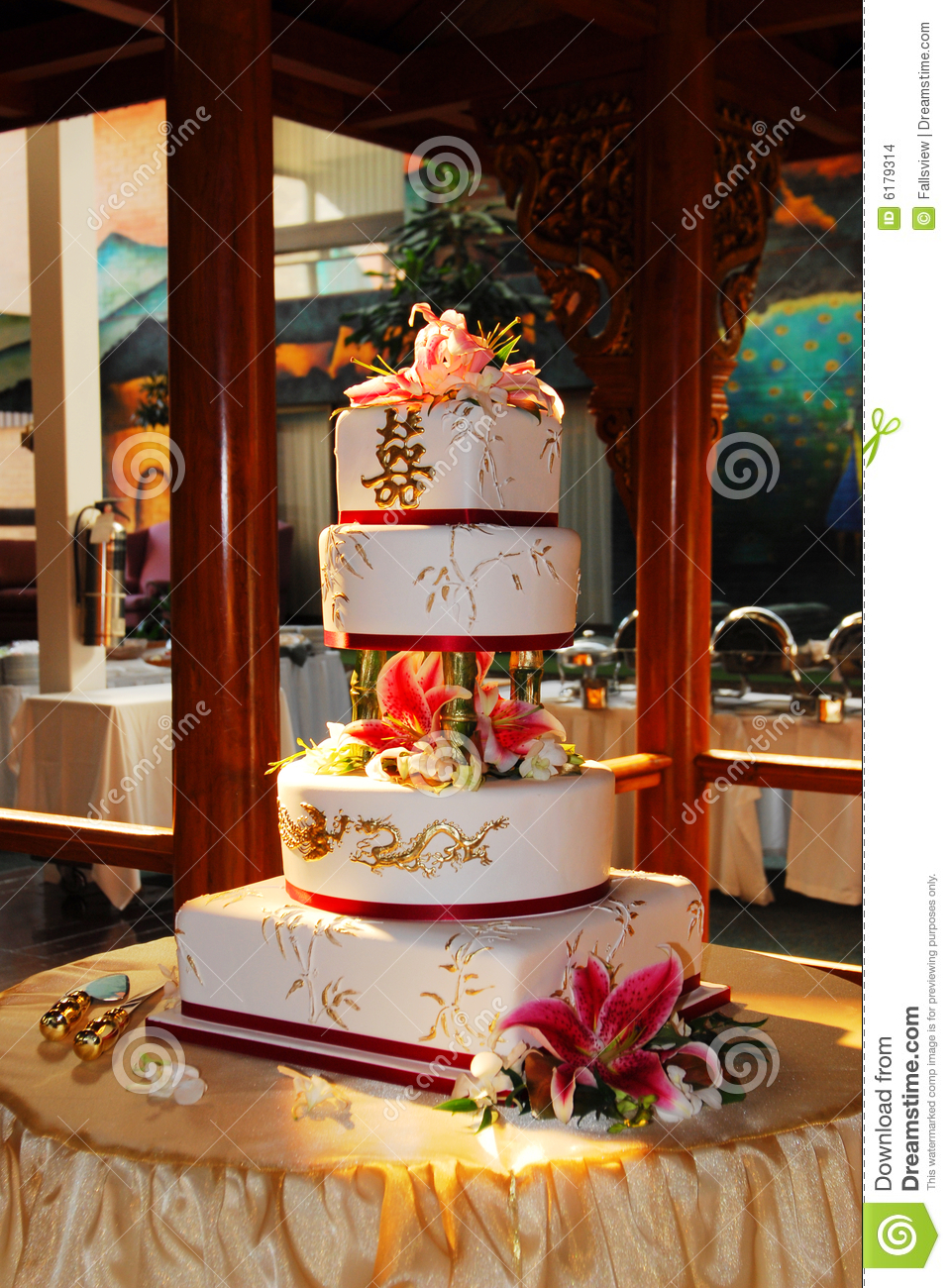 Chinese Wedding Cake Stock Photo Image Of Flowers Flower