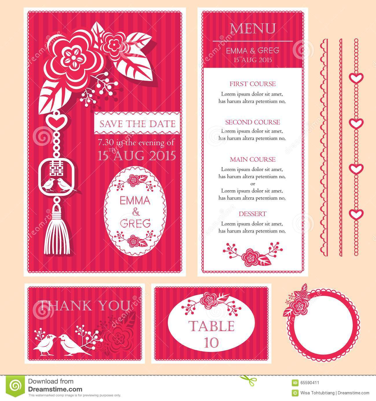 Chinese wedding card stock vector. Illustration of wedding - 65590411