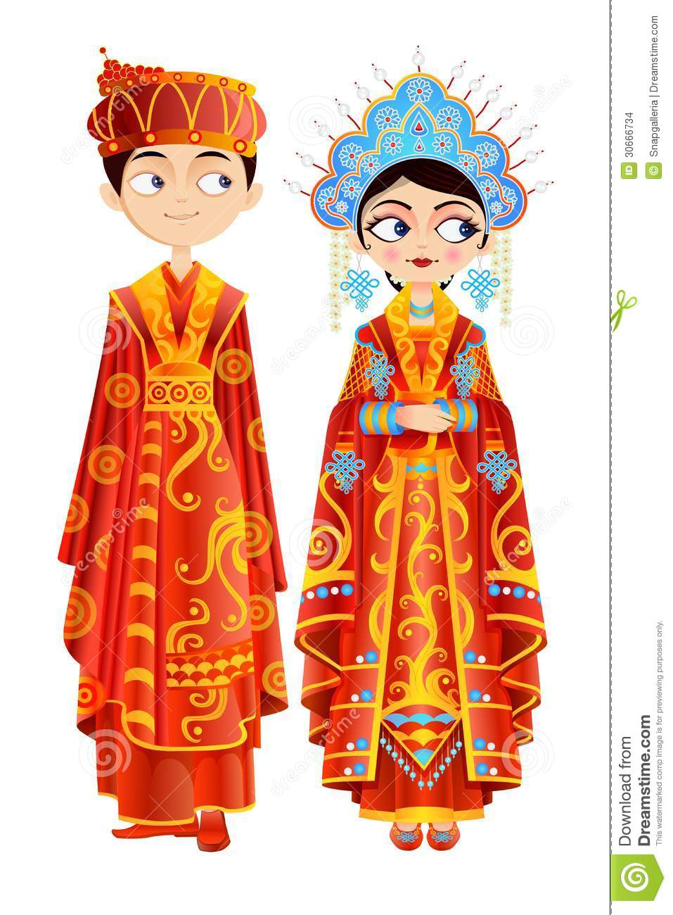 Chinese Wedding Couple stock vector. Illustration of ...