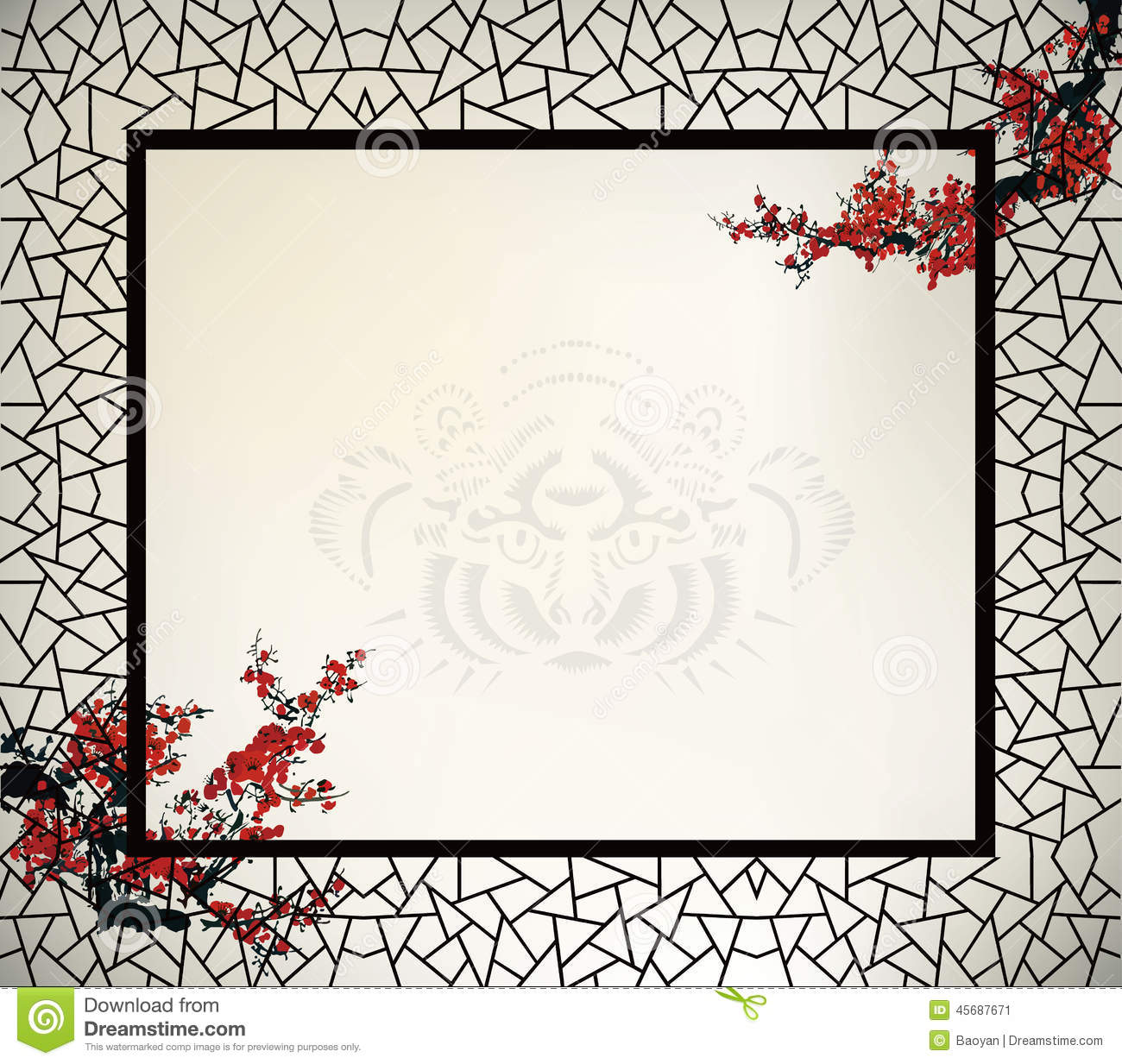 Chinese Window Frame Stock Vector - Image: 45687671