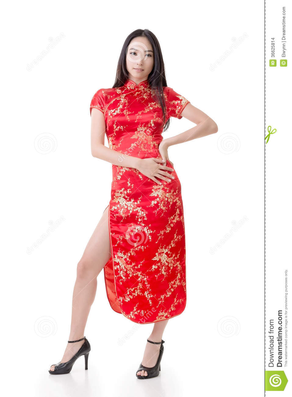 Sexy chinese woman dress traditional cheongsam at new year studio