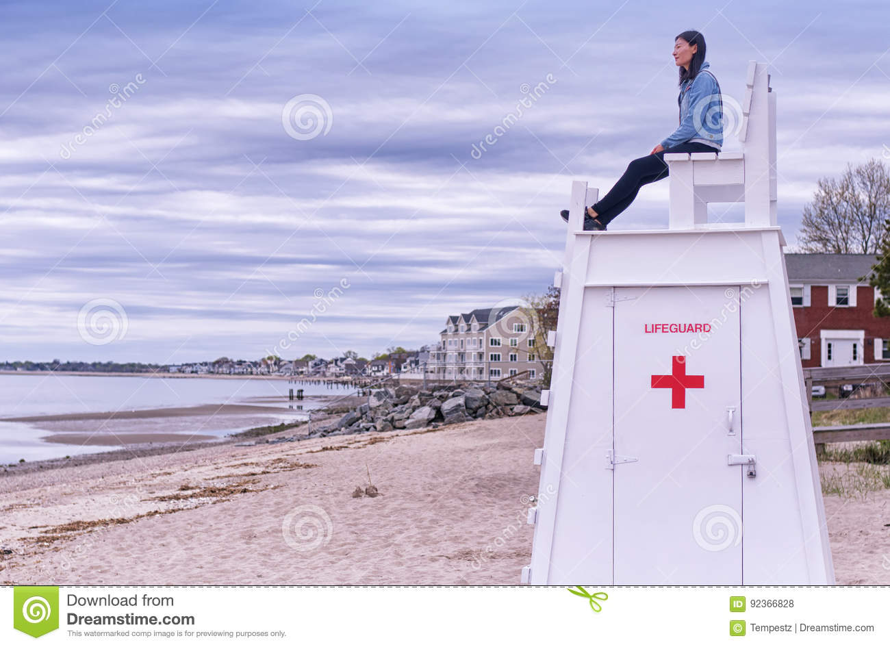 Chinese woman on lifeguard chair