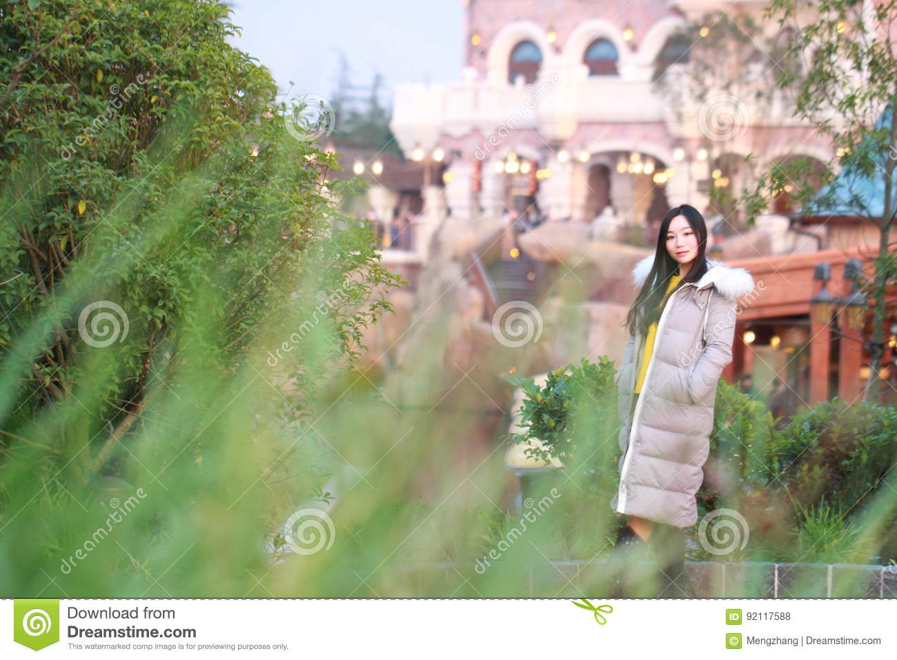 a chinese woman in shanghai disney land stock photo image 92117588