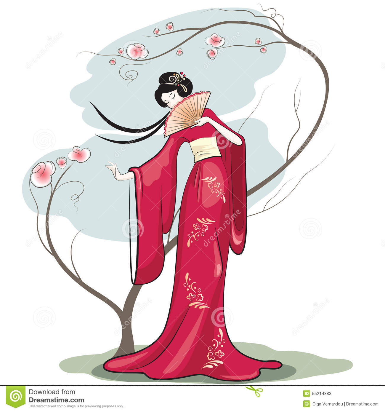 Art Unlimited Sportswear: Chinese Woman Stock Vector. Illustration Of Flower