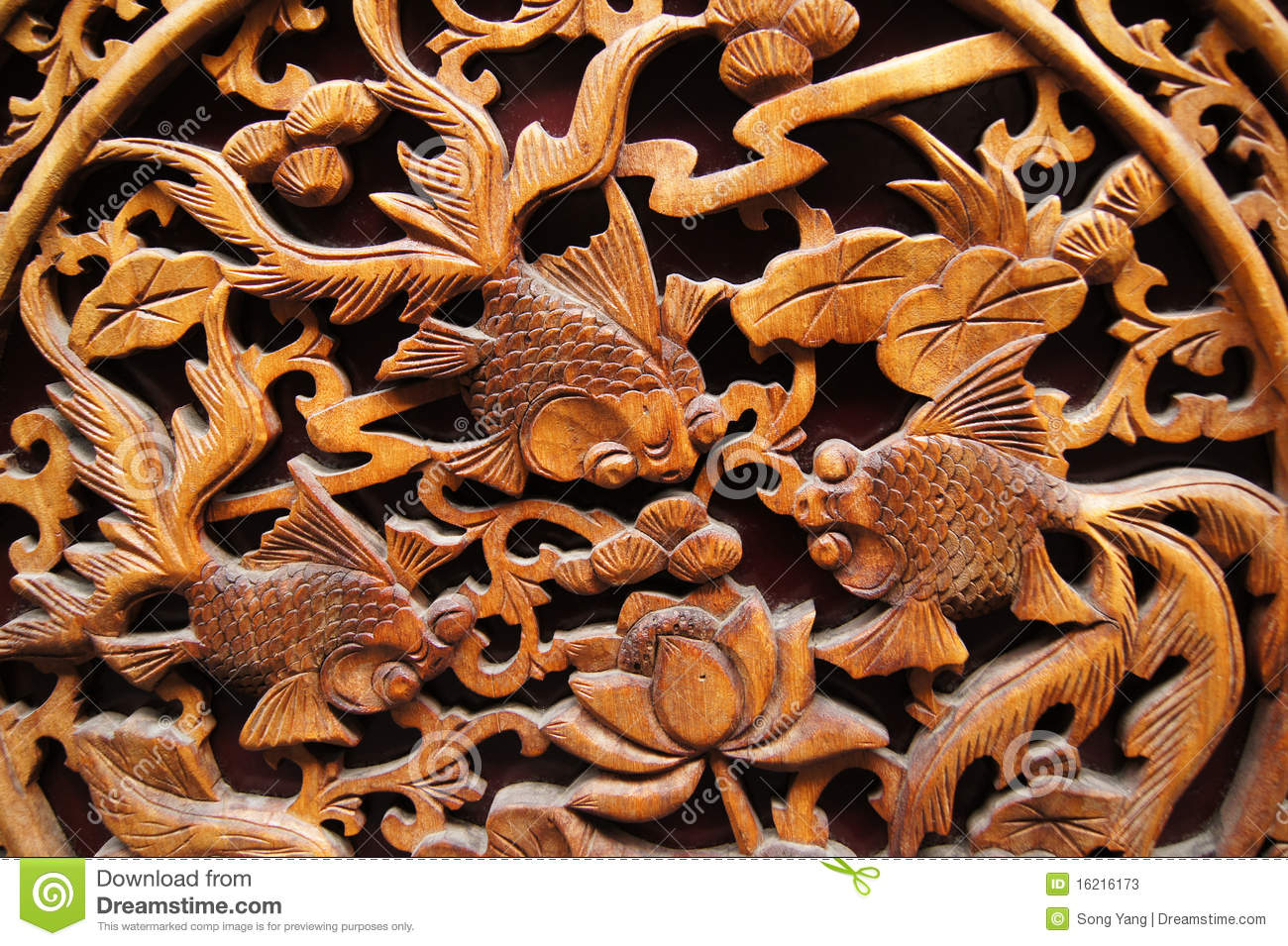 Chinese Wood Carving Stock Image Image Of Goldfish
