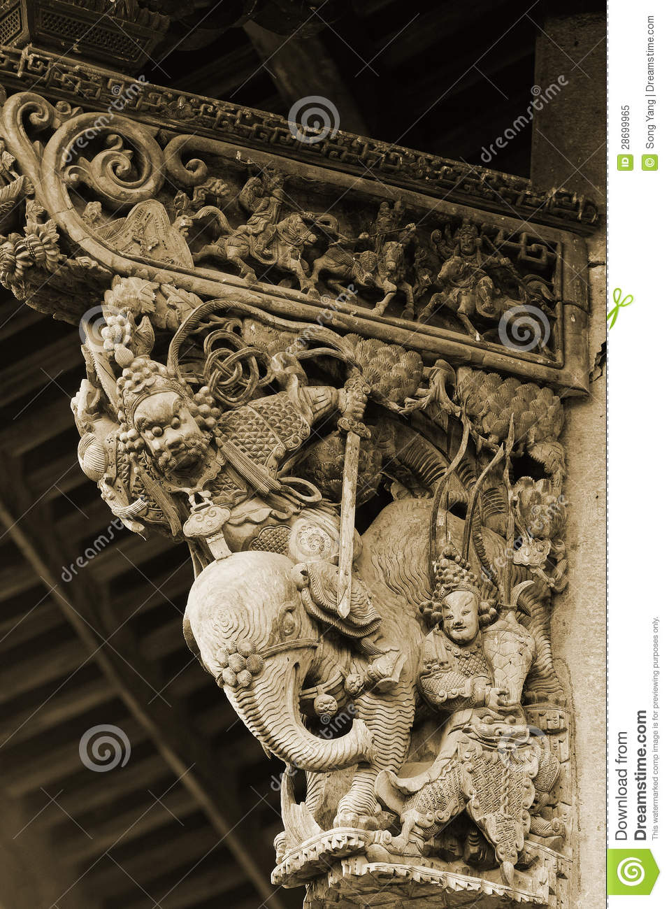 Chinese wood carving royalty free stock photo image
