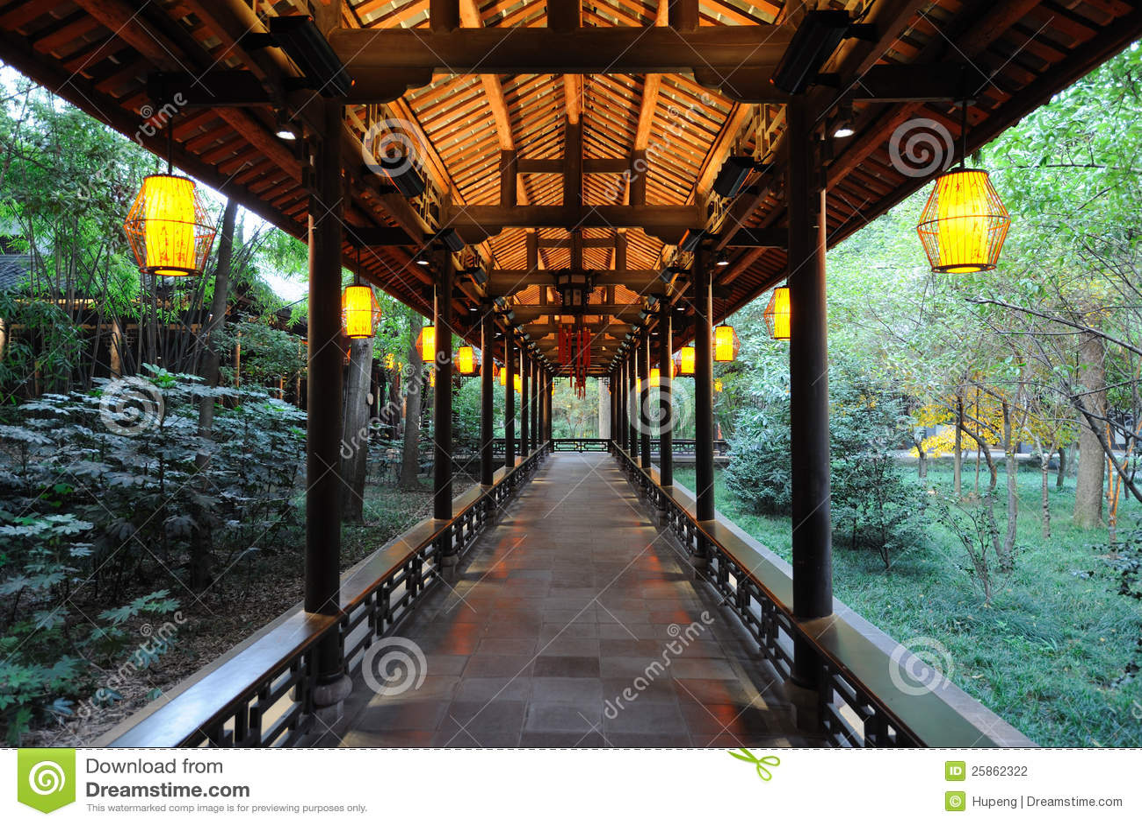 Chinese Wooden Corridor Stock Photo Image Of Decoration