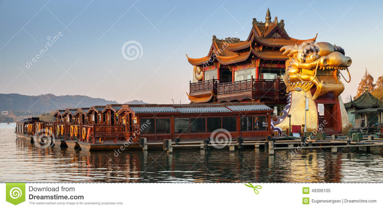 Chinese Wooden Recreation Boats And Dragon Ship Stock ...