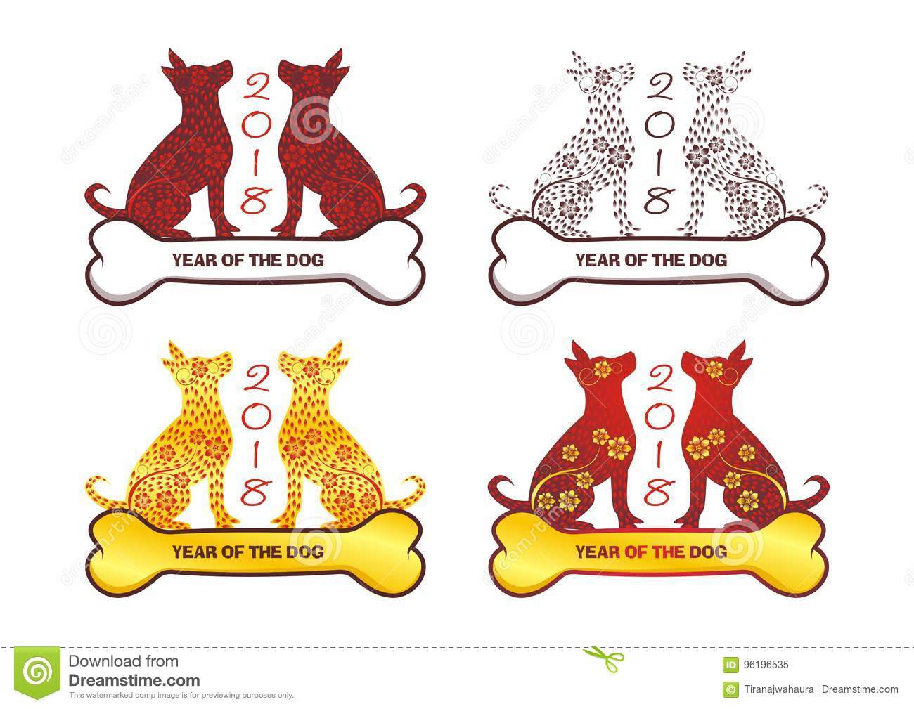 chinese new year 2018 design template for year of dog with good and new design
