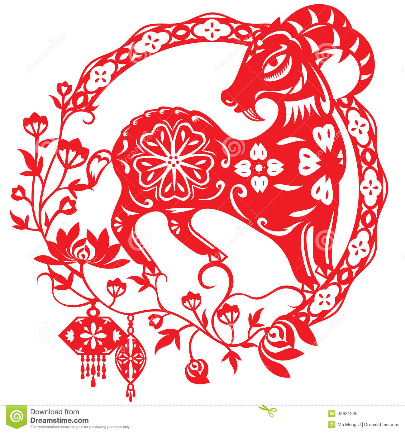 Chinese Calendar Illustration : Chinese year of lucky sheep lamb stock vector
