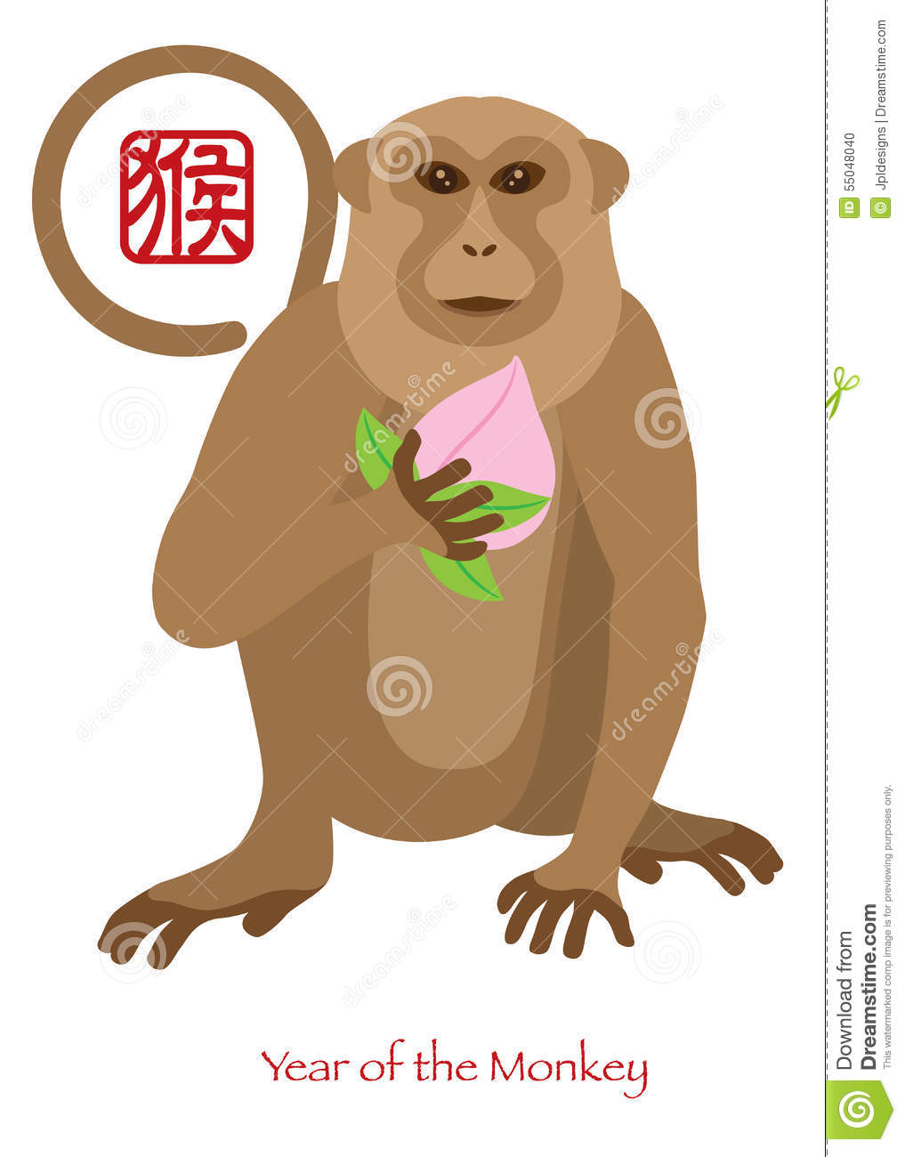 2016 Chinese Year Of The Monkey With Peach Color ...