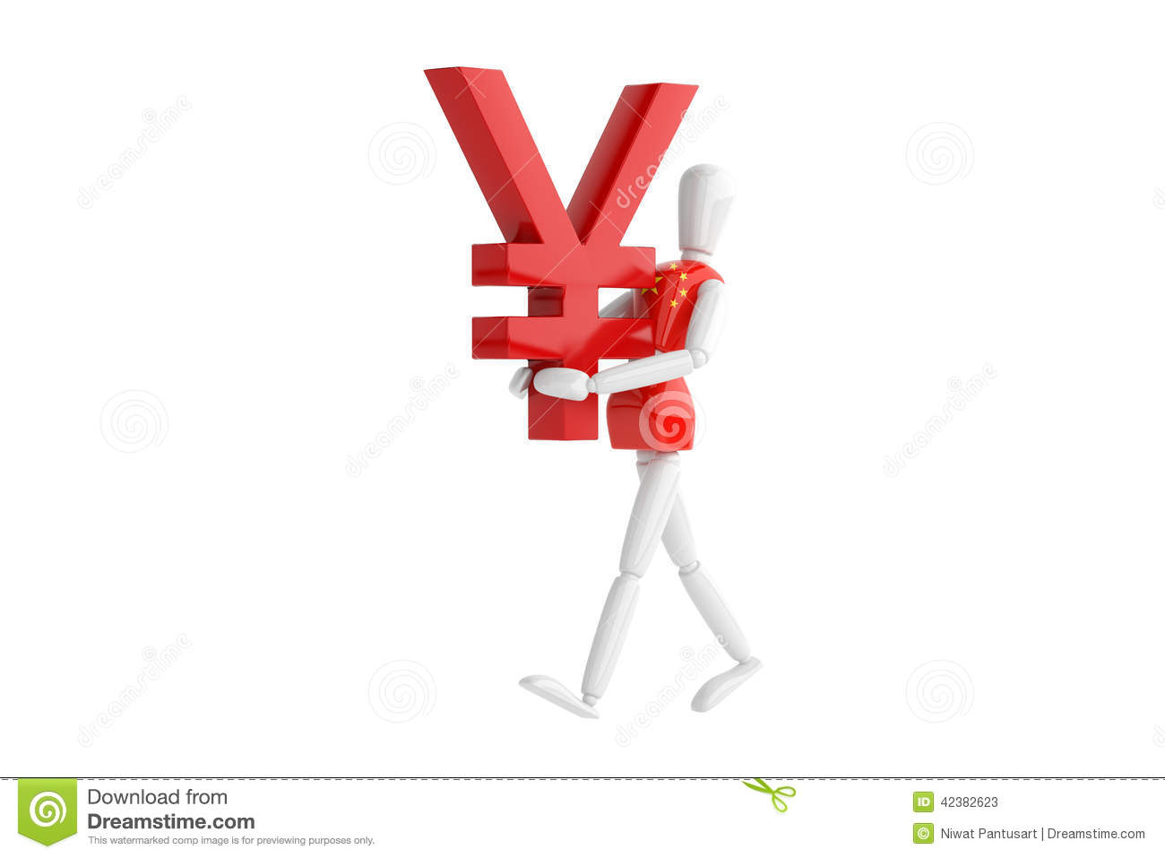 Chinese Yuan Currency White Man Stock Illustration Illustration Of