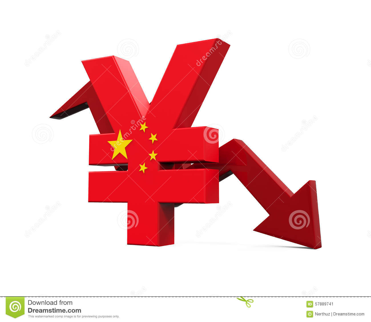 Chinese yuan symbol stock illustration illustration of render chinese yuan symbol and red arrow stock image biocorpaavc Image collections