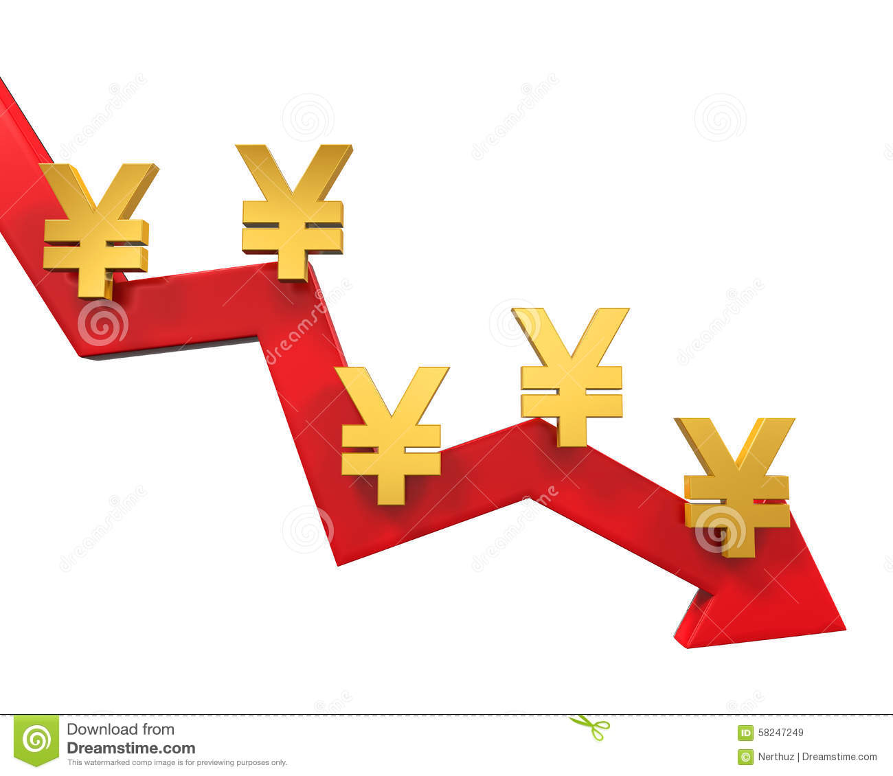Chinese Yuan Symbol And Red Arrow Stock Illustration Illustration