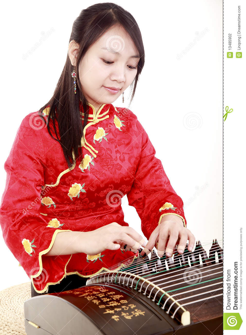 ... on white close up chinese character on zither is chinese tang poetry