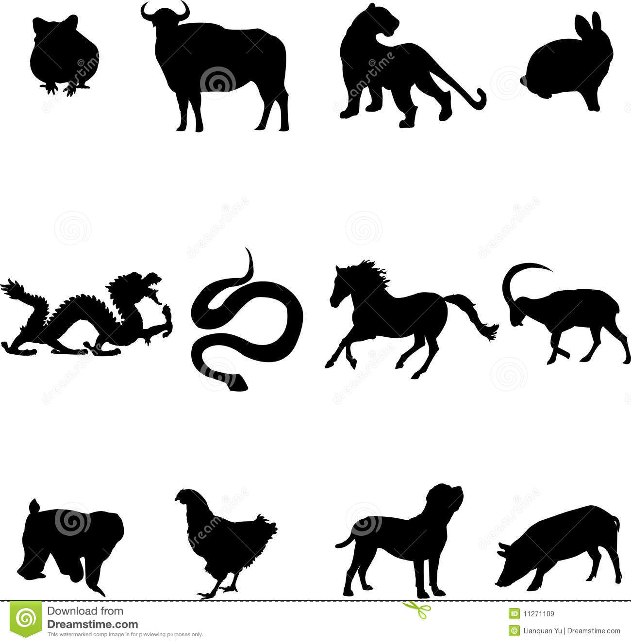 Chinese Zodiac Animals Stock Vector Image Of Ancient 11271109