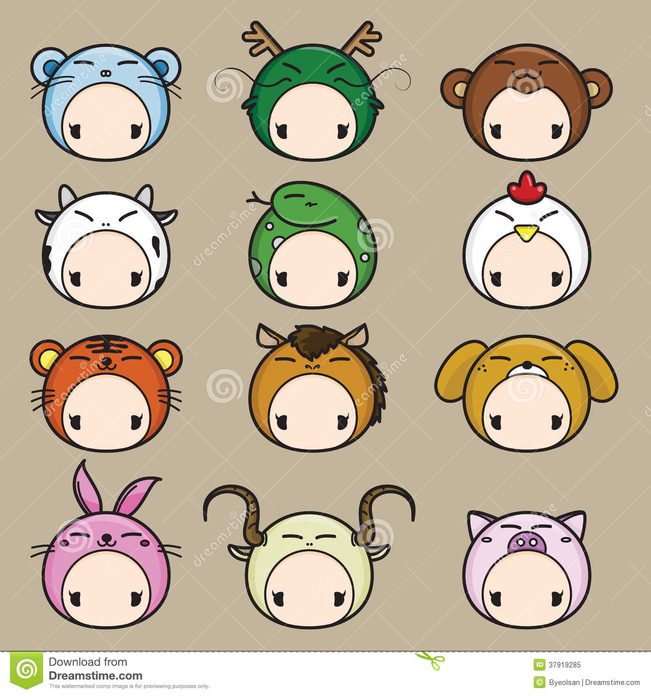 346f2d8a9 Chinese Zodiac. 12 Animals Icon Set. Stock Vector - Illustration of ...