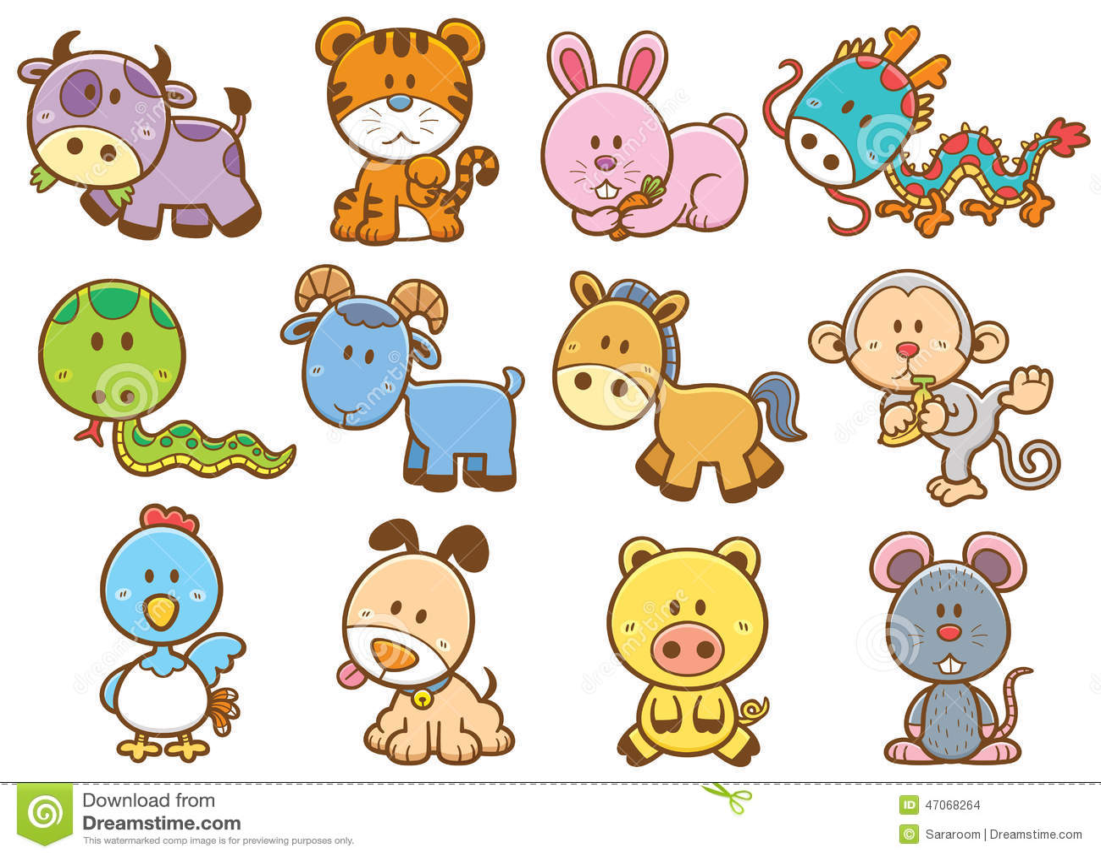 chinese zodiac animals stock vector illustration of rabbit 47068264. Black Bedroom Furniture Sets. Home Design Ideas