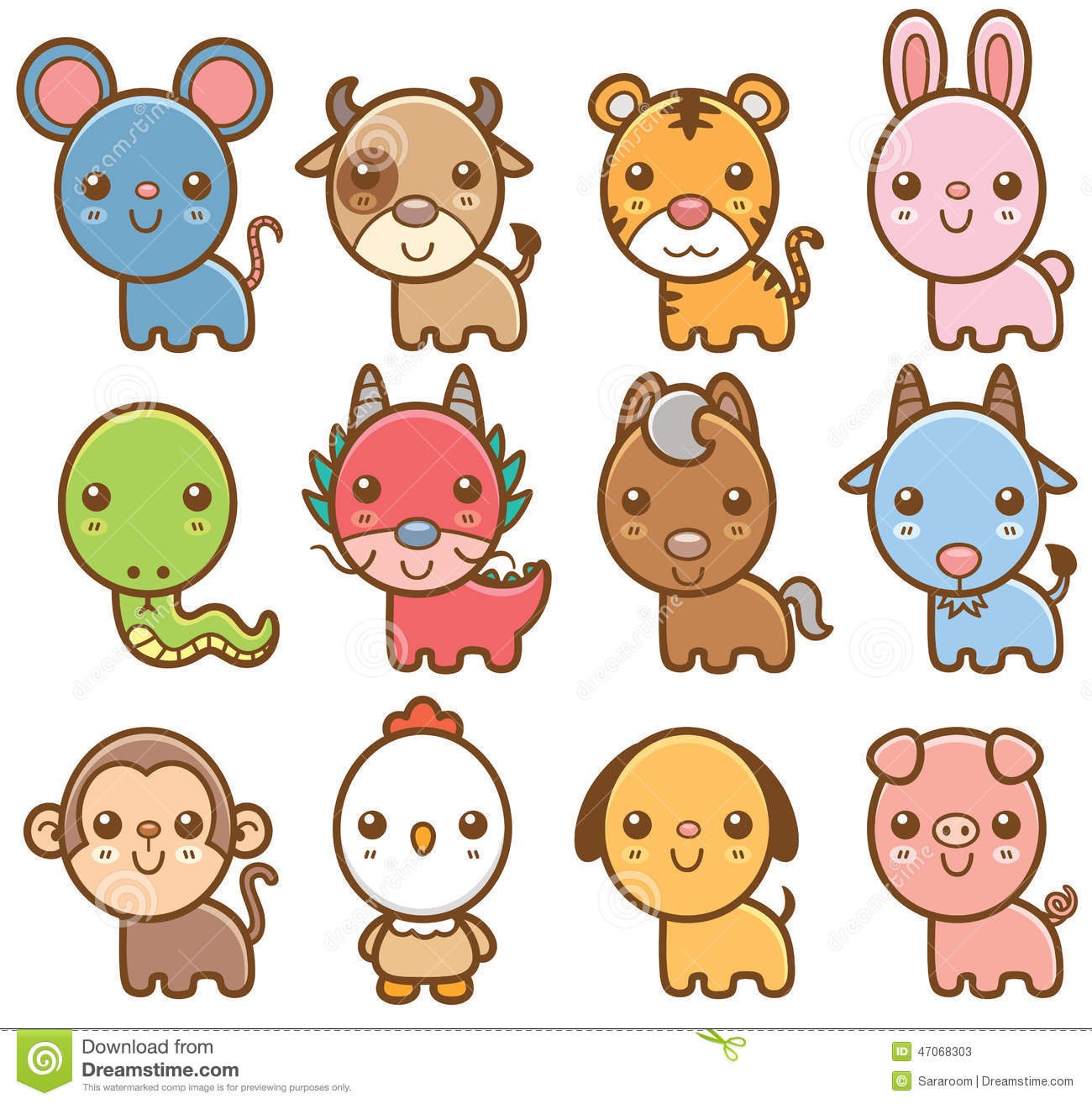 12 Chinese Zodiac Animals Wood Signs Royalty Free Stock Image ...