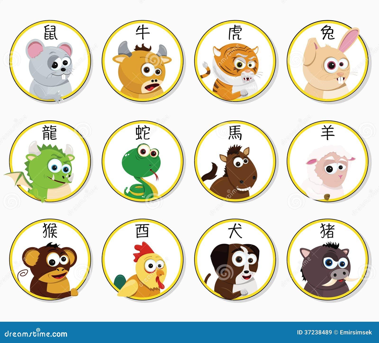 Chinese Zodiac Animals Royalty Free Stock Images - Image: 37238489